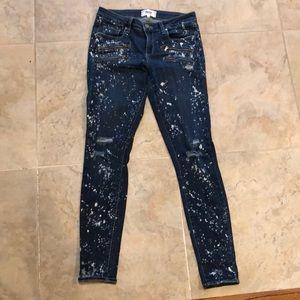 Paige splatter paint jeans with zipper pockets